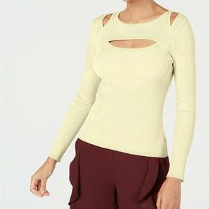 NEW Bar III Ribbed Cut Out Long Sleeve Sweater Top